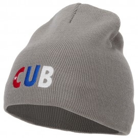 Cuba Country Three-Letter CUB Flag Embroidered 8 Inch Knitted Short Beanie
