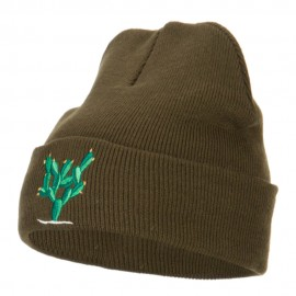 Cactus Embroidered Long Beanie