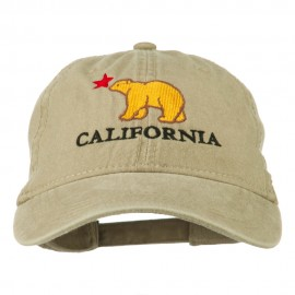 California with Bear Embroidered Washed Cap - Khaki