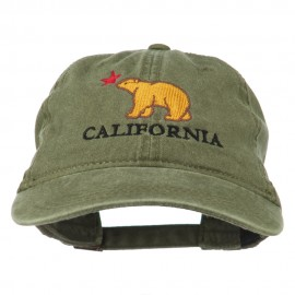 California with Bear Embroidered Washed Cap - Olive Green