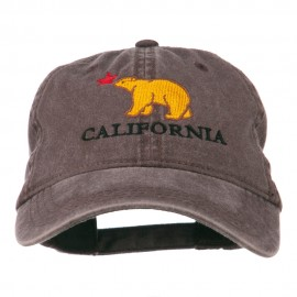 California with Bear Embroidered Washed Cap - Brown