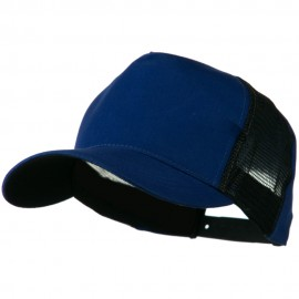 Cotton Cap With Two Side Mesh Panel - Royal Black