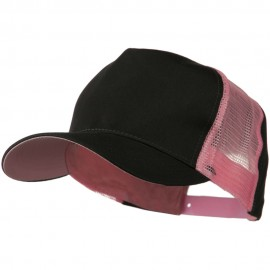 Cotton Cap With Two Side Mesh Panel - Black Pink