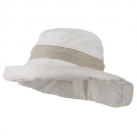 UPF 50+ Canvas Trimmed Crown Draw String Hat - Beige Mocha
