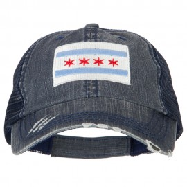 Chicago Flag Embroidered Low Profile Cotton Mesh Cap