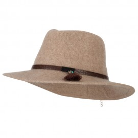 Women's Crocodile Print Trim Band with Tassel and Bead Accent Wool Fedora Hat