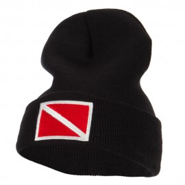 Scuba Diving Flag Embroidered Long Beanie