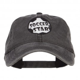 Soccer Star Embroidered Washed Cap