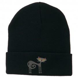 Black Cat Embroidered Long Beanie - Navy