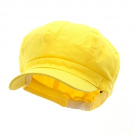 Cotton Elastic Newsboy Cap-Yellow