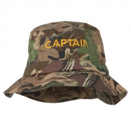Captain Embroidered Pigment Dyed Bucket Hat - Leaf Camo