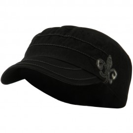 Checkered Flower Army Cap - Black