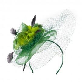 Multi Colored Feather Fascinator with Circle Shaped Net