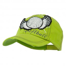 Baseball Cap with Softball and Feathers