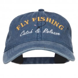 Catch Release Fly Fishing Embroidered Washed Cap - Navy