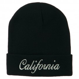 California Embroidered Long Cuff Beanie