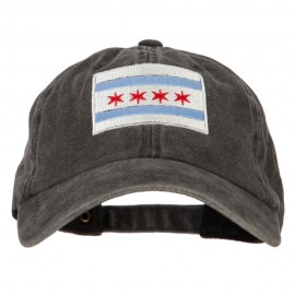 Chicago Flag Embroidered Washed Cotton Twill Cap
