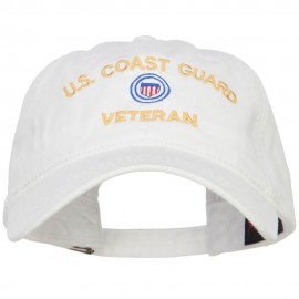 US Coast Guard Veteran Embroidered Washed Cap - White