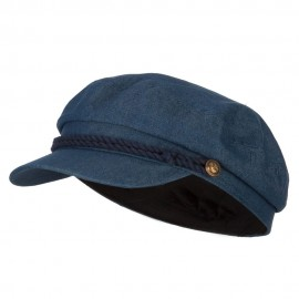 Chambray Denim Captain Cap with Rope Trim and Metal Buttons - Dk Denim