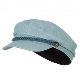Chambray Denim Captain Cap with Rope Trim and Metal Buttons - Lt Denim