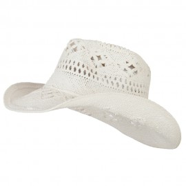 Solid Color Straw Cowboy Hat - White