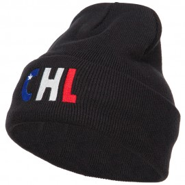 Chile CHL Flag Embroidered Long Beanie