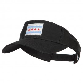Chicago City Flag Embroidered Pro Style Cotton Washed Visor