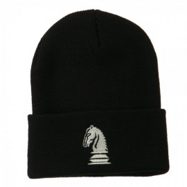 Chess Knight Embroidered Long Beanie