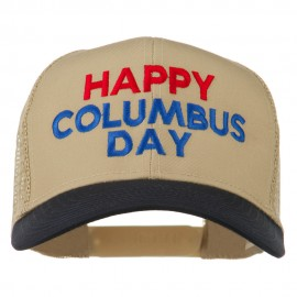 Happy Columbus Day Embroidered Mesh Cap