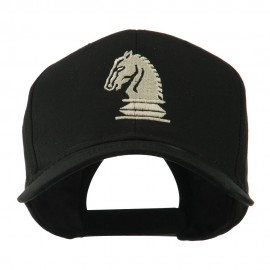 Chess Piece of a Knight Embroidered Cap - Black