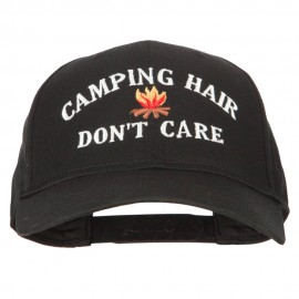 Camping Hair Don't Care with fire Embroidered Solid Cotton Pro Cap