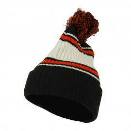 Contrast Jacquard Striped Cuff Watch Cap Beanie