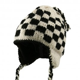Checker Jacquard Beanie-Beige Black