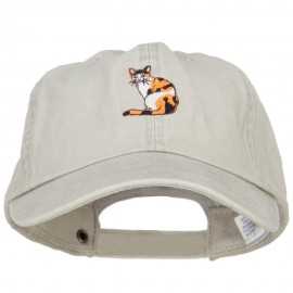 Calico Cat Embroidered Washed Cotton Twill Cap