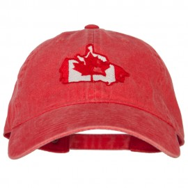 Canada Flag Map Embroidered Washed Cotton Twill Cap
