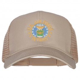 US Air Force Retired Circle Embroidered Solid Cotton Mesh Pro Cap