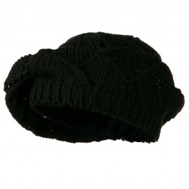 Cable Knit Beret - Black