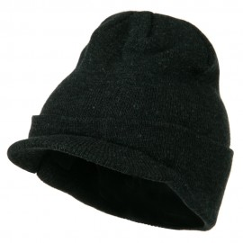 Cuff Knitted Beanie with Visor Bill - Charcoal