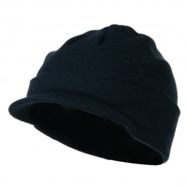 Cuff Knitted Beanie with Visor Bill - Navy