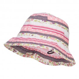 Girl's Calico Striped Ribbon Bucket Hat