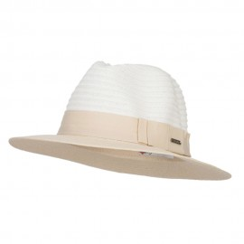 Color Block Panama Hat with Band - Tan