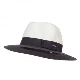 Color Block Panama Hat with Band - Black