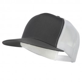 Classic 5 Panel Two Tone Mesh Trucker Snapback Cap - Charcoal White