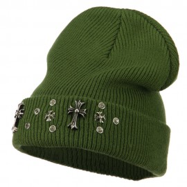 Stone and Cross Long Cuff Beanie