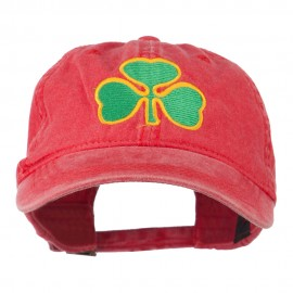 St. Patrick's Day Clover Embroidered Washed Cap - Red