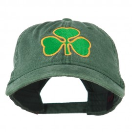 St. Patrick's Day Clover Embroidered Washed Cap - Dark Green