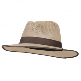 Men's Cotton Canvas Open Mesh Fedora Hat
