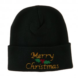 Merry Christmas Embroidered Long Beanie - Black