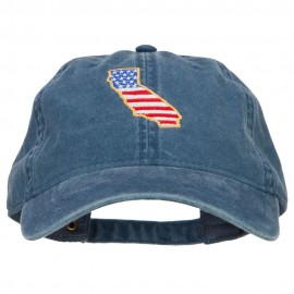 USA Flag California Map Embroidered Washed Buckle Cap