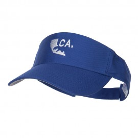 California Map Bear Embroidered Sports Visor